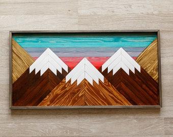MOUNTAIN WOOD ART, Wood wall art, Geometric wood wall hanging, Snow capped mountain landscape, Sunset mountain art, Mountain wood plaque