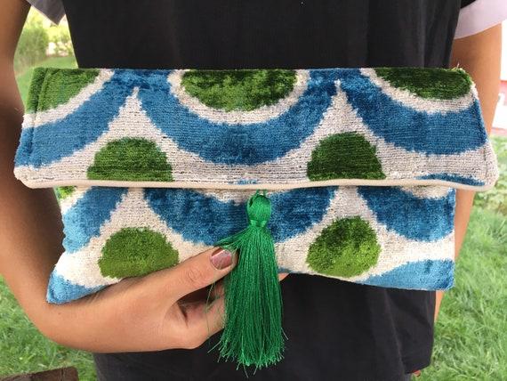 Handmade Bag, Clutch Bag for Woman, Blue Green Bag