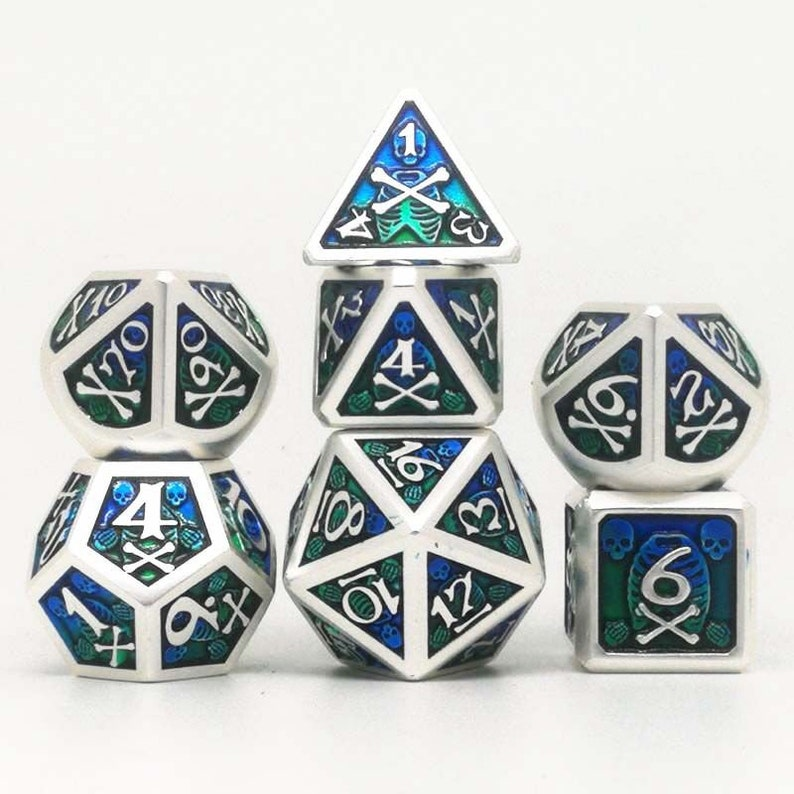 Skull heavy metal dice\uff0cmetal dnd dice set,dragon dice set,polyhedral dice set roleplaying games dice tabletop games d4 d6 d8 d10 d12 d20