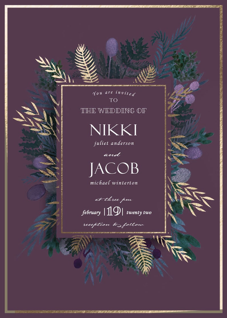 /'highland wreath/' Wedding Stationary Digital Download Wedding Invitation Gold foil by nakedprintdesign.
