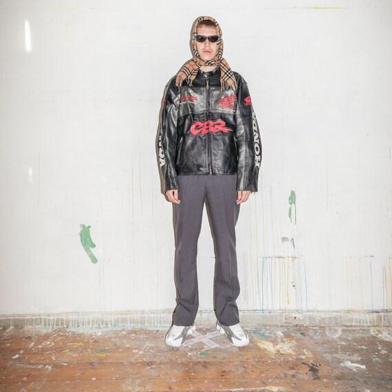 Vintage leather biker jacket in black