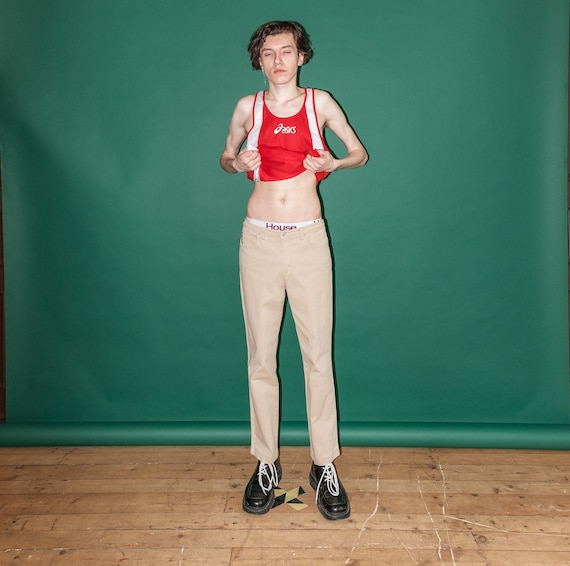 Vintage rave classic beige trousers / 1990s