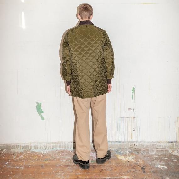 Vintage Barbour quilted winter jacket in khaki gr… - image 3