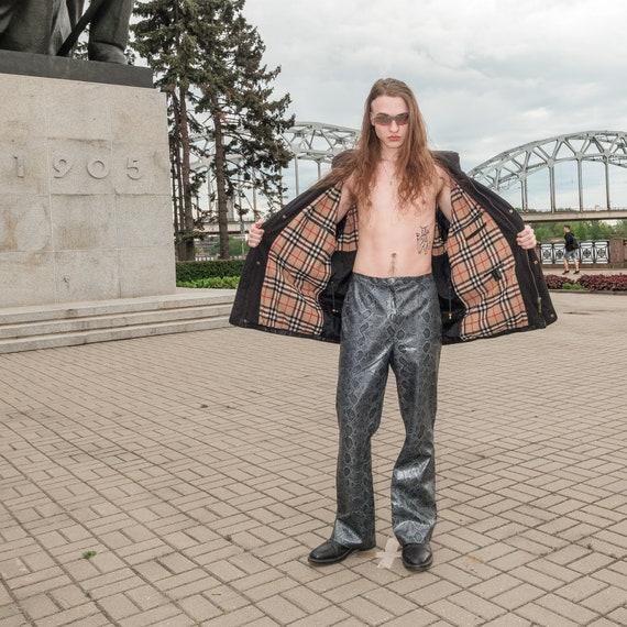 Vintage leather warm jacket / 1990s
