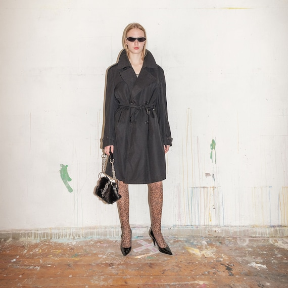 Vintage double-breasted trench coat in black