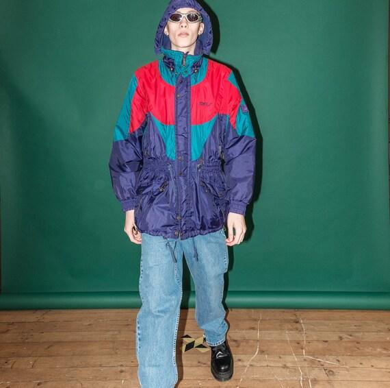 Vintage windbreaker neon jacket / 1990s