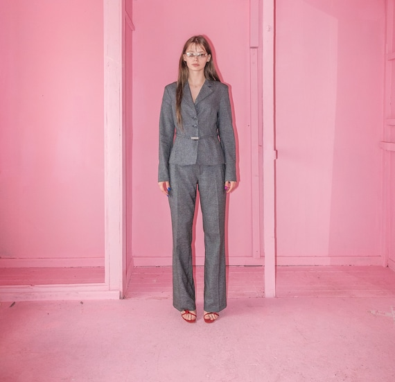 Vintage classic grey houndstooth suit / UNISEX