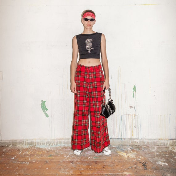 Vintage checkered Cyber Goth rave cargo trousers i