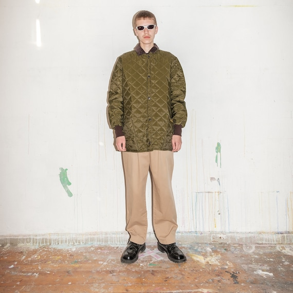 Vintage Barbour quilted winter jacket in khaki gre