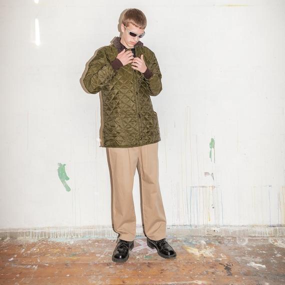 Vintage Barbour quilted winter jacket in khaki gr… - image 5