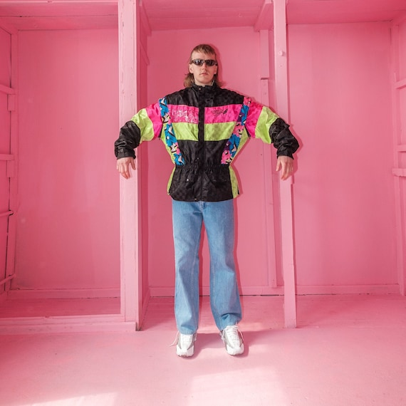 Vintage neon multi-color moto rave jacket / 1990s