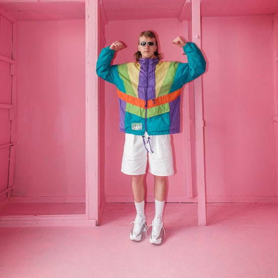 Vintage windbreaker multi-color rave jacket / 1990