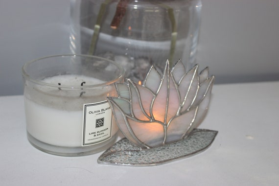 Stained Glass Lotus Flower Candle Holder Bridesmaid Gift Yoga Wedding