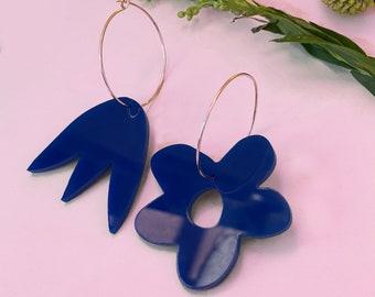 STEVIE Asymmetric Floral 70s Orange Hoop Earrings