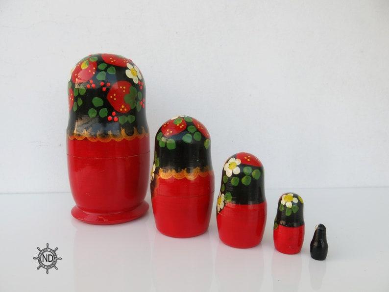 5.5Set of 5 Russian Nesting DollsBabushkaVintage MatryoshkaOld Russian DollSoviet Vintage Toys 14 cm Very Old Matryoshka