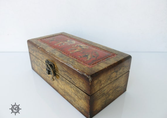 Wood and Leather Trinket Box Brown Wood and Leather Box Wood Chest  Jewelry ON SALE Vintage Wooden Chest Wooden Box for jewelry