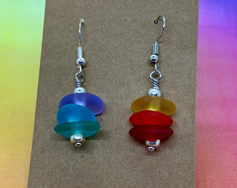 Cultured Sea Glass Earrings with Miyuki Glass Seed Beads on Hapyoallergenic Ear Wires