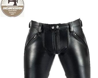 Mens Leather Shorts Hand Made Sheep Skin Leather Shorts - Handmade Sheep Leather Shorts
