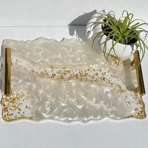 Geode agate Pink and white resin serving decorative tray bridal or engagement gifts 12x10\u201d Great housewarming modern gold bar handles