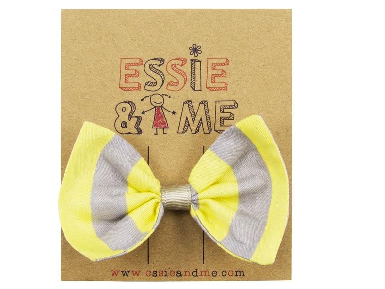Large Hair Bows Yellow and Grey Hair Bow Baby Girl Kids Bow Striped Hair Bows Toddler Bow Hair Bows Pastel Stripes Bella Hair Bow