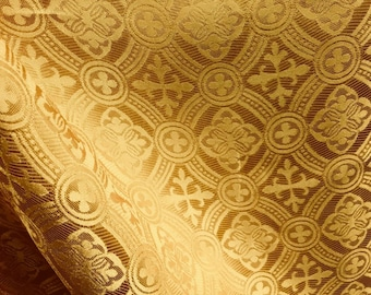 GOLD Liturgical Cross Brocade Fabric (60 in.) Sold By The Yard
