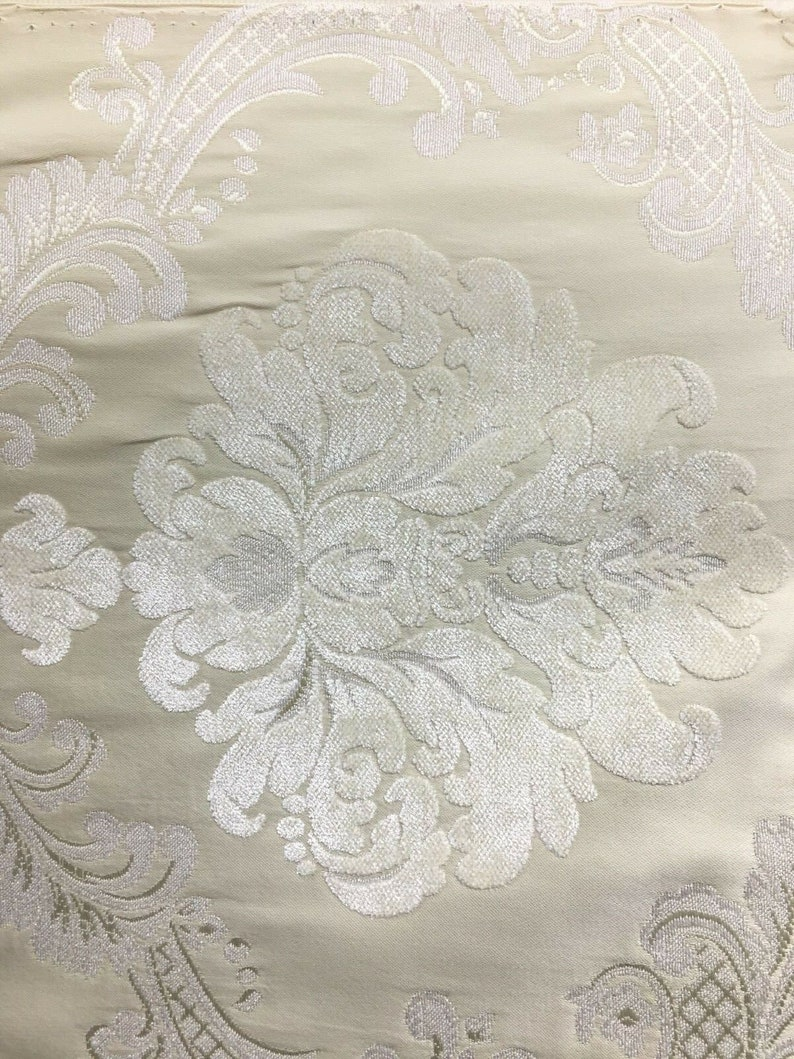 IVORY BEIGE Damask Chenille Upholstery Brocade Fabric 54 in. Sold By The Yard