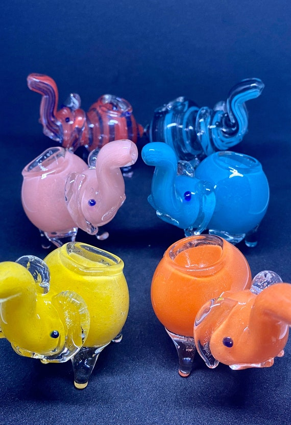 Mini Glass Elephant Glass Pipe Cute Pink Glass Elephant Etsy