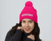 On Wednesdays We Wear Pink Pom-Pom Beanie, Mean Girls, Broadway Show, Mean Girl Movie, Musical Theater, The Plastics, Embroidered Hat