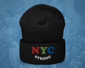 NYC Strong Beanie, New York City, #NYCSTRONG, In It Together, Small Business, Broadway, Embroidered Beanie, Fall, Winter Hat