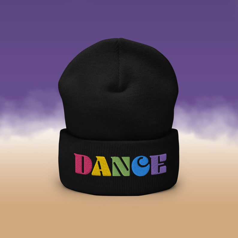 DANCE Beanie Broadway Musical Theater Embroidered Beanie Black