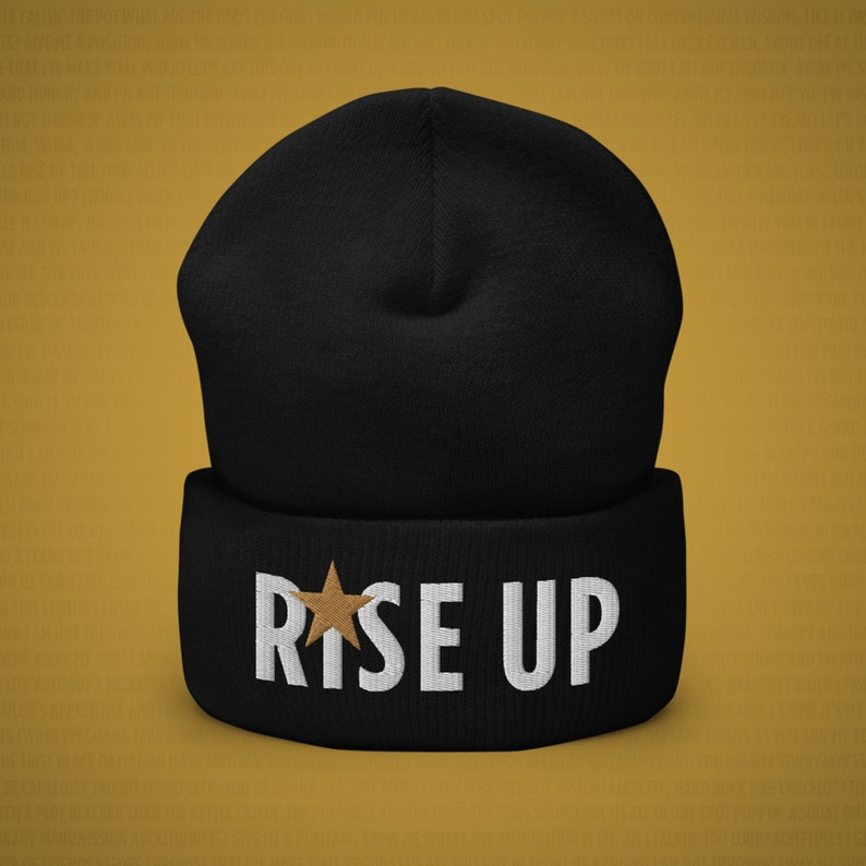 Rise Up Cuffed Beanie Hamilton Musical Inspired Broadway image 0