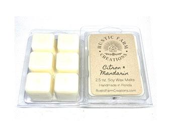 Soy Wax Melts | Citron & Mandarin | Rustic Farm Creations | wax melt clamshell | scented wax cubes