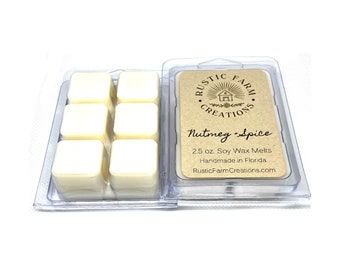 Soy Wax Melts | Nutmeg and Spice Scented | Rustic Farm Creations | wax melt clamshell | Scented wax melts