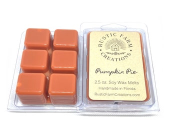 Soy Wax Melts | Pumpkin Pie | Rustic Farm Creations | wax melt clamshell | scented wax cubes