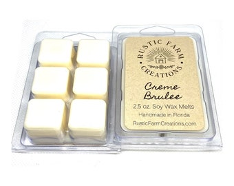 Creme Brulee Soy Wax Melts | Rustic Farm Creations | wax melt clamshell