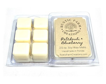 Patchouli And Blueberry Soy Wax Melts | Rustic Farm Creations | wax melt clamshell