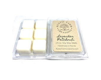Soy Wax Melts | Lavender Patchouli Scented | Rustic Farm Creations | wax melt clamshell | Scented wax melts