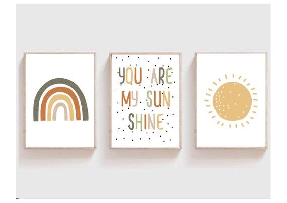 Set of 3 Nursery Prints You Are My Sunshine Nursery Decor