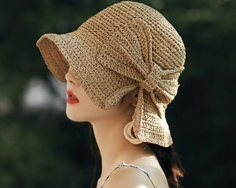FT-SHOP Girls Sun Hat Summer Beach Straw Hats and Mini Cute Purse Sets with Flowers Decoation for Holiday Outdoor Activities