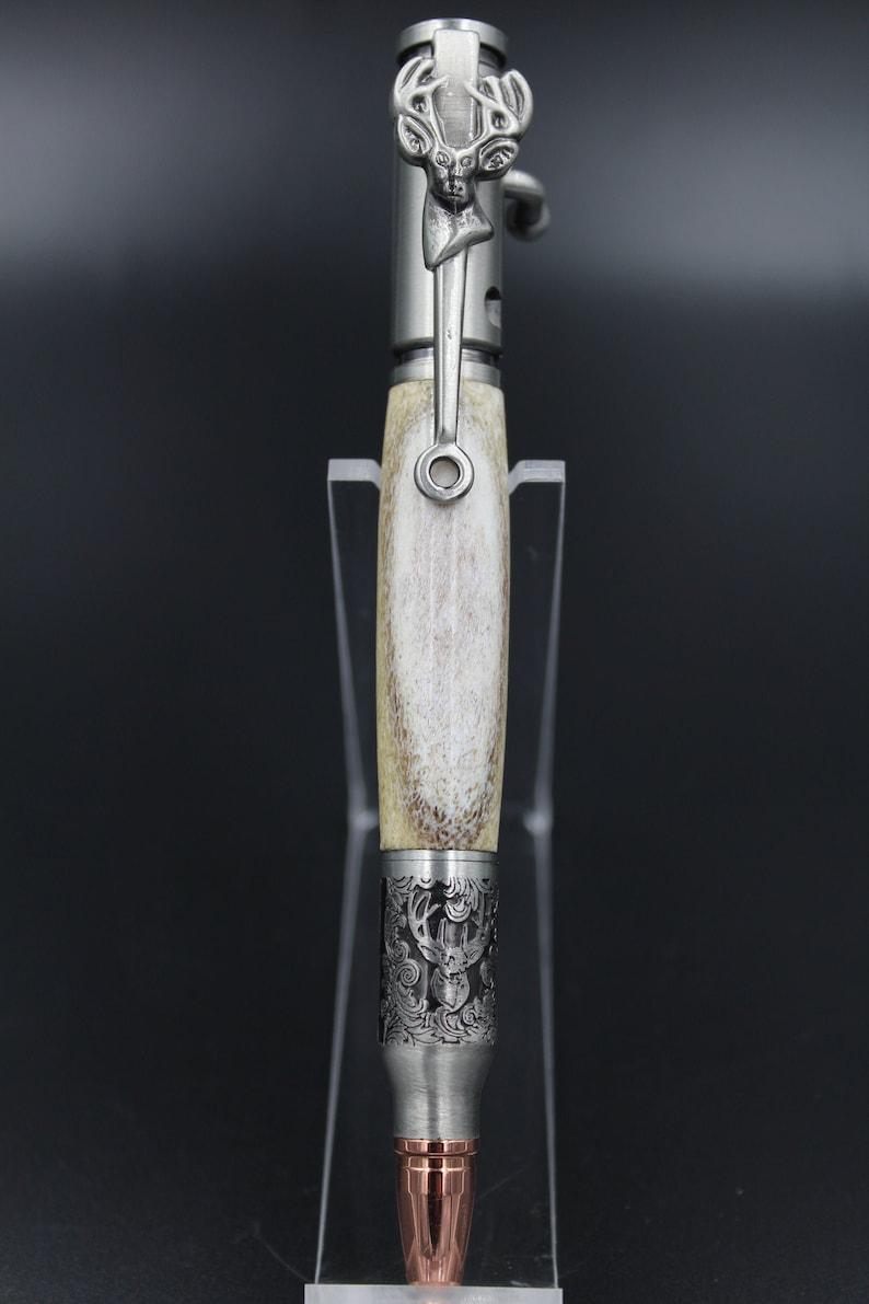 Deerhead Bolt Action Ballpoint pen in Antique Pewter with a Handmade Deer Antler Body