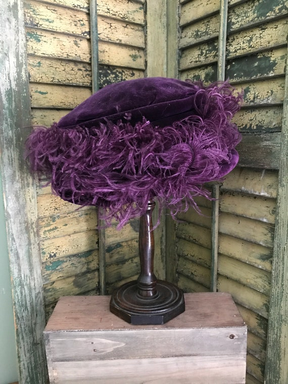 Vintage velvet brimmed hat with ostrich feathers