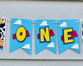 TOY STORY Birthday Highchair High Chair Banner Party Photo Prop Bunting Backdrop Cake Smash Western Woody Jesse Buzz Sheriff One First
