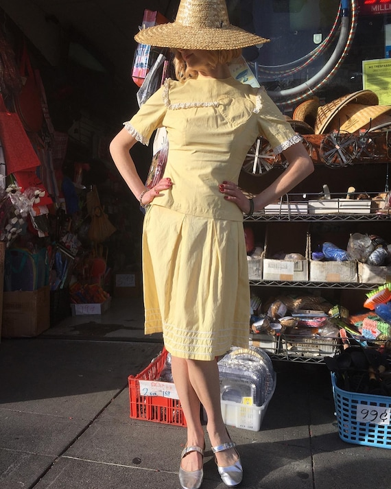 1940s Butter yellow dress set ~ 1940s blouse and … - image 10