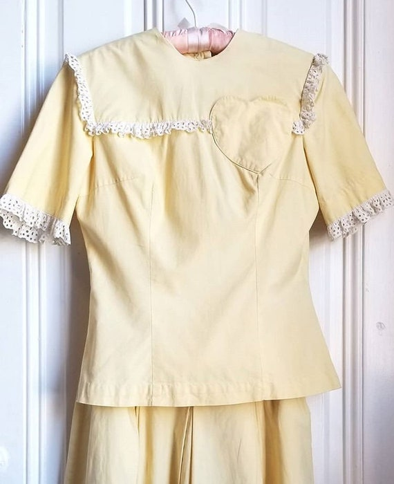 1940s Butter yellow dress set ~ 1940s blouse and s
