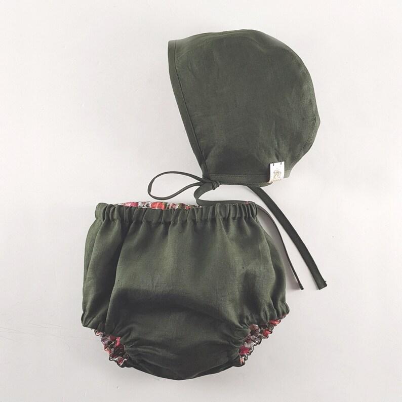 Baby Bonnet CosmosMilitary Green Reversible Linen /& Liberty Bonnet