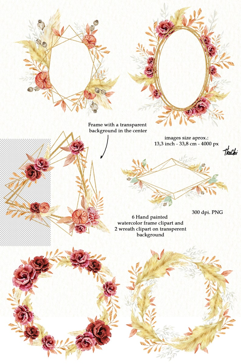 Watercolor Boho Round Gold Floral Wreath clipart with Bohemian Burgundy Rose Pampas Grass Wild Floral Branch Foliage Wedding Frame PNG