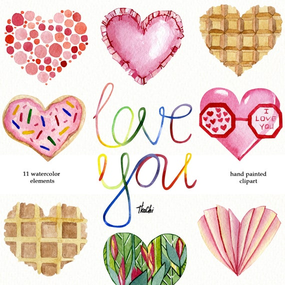 Watercolor beige hearts png clipart Modern Valentines day clip art
