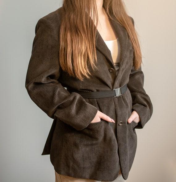 Vintage Unisex Dark Brown Corduroy Blazer, For Men
