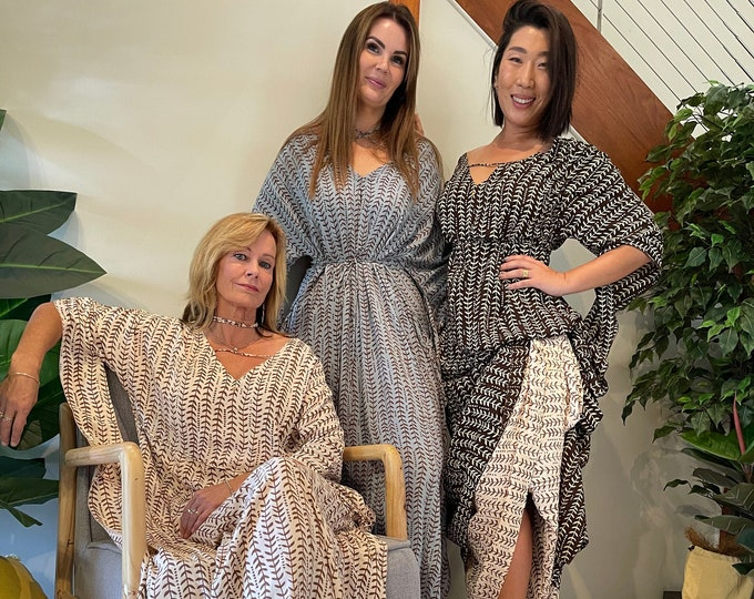Featured listing image: hand Printed on voile Kaftan size 6 up to 16