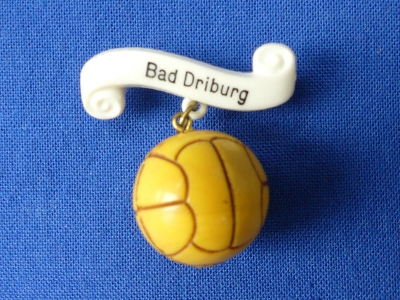 Soccer Brooch, Yellow Football Pin, Vintage German